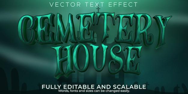 Efecto de texto de la casa del cementerio, estilo de texto editable de halloween y terror