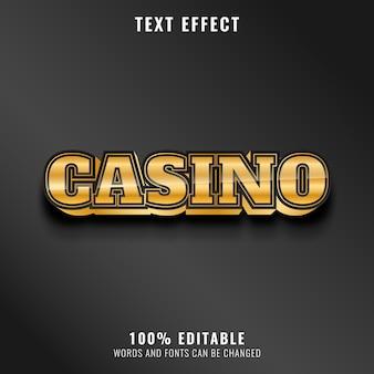 Efecto de texto de casino brillante dorado