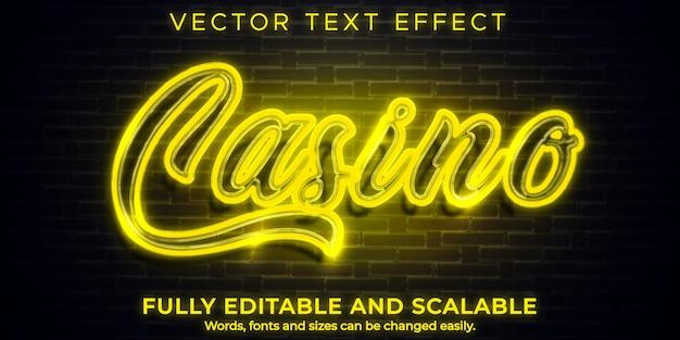 Efecto de texto de casino de neón, brillo editable y estilo de texto brillante