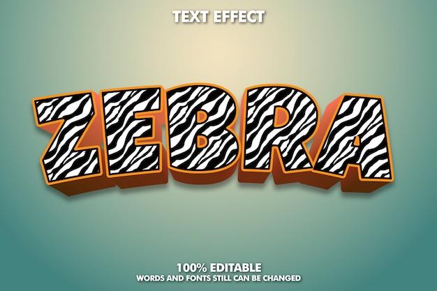 Efecto de texto de cebra editable, estilo de texto de catoon