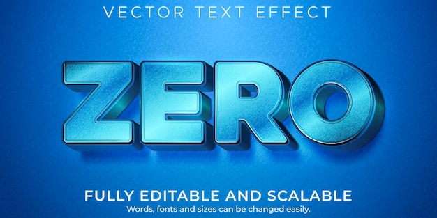 Efecto de texto cero metálico, estilo de texto brillante y elegante editable