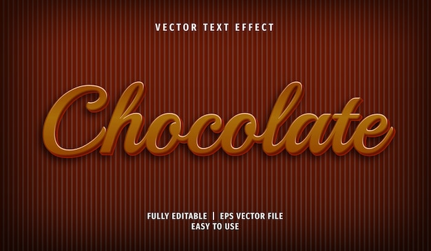 Efecto de texto de chocolate 3d, estilo de texto editable