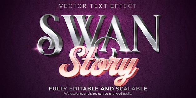 Efecto de texto de cisne metálico, estilo de texto brillante y elegante editable