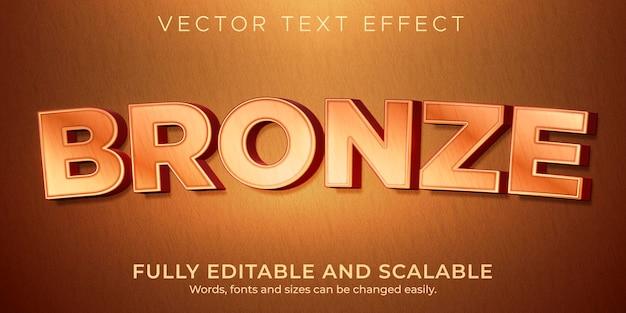 Efecto de texto de cobre bronce editable estilo metálico y brillante