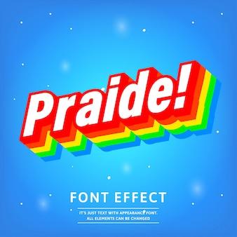 Efecto de texto en color degradado 3d praide con aspecto moderno y fuerte
