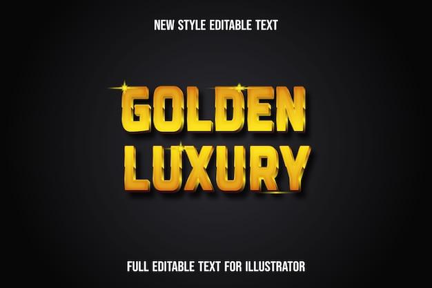 Efecto de texto color dorado de lujo degradado amarillo y marrón.