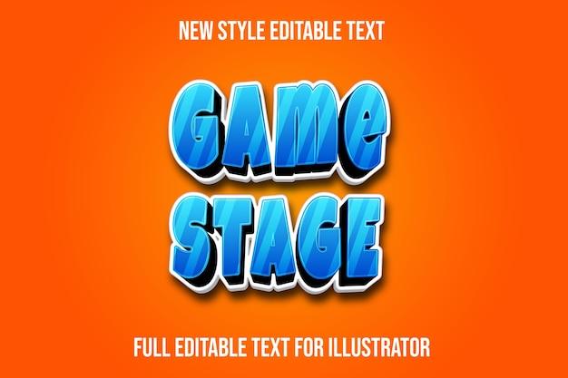 Efecto de texto color del escenario del juego degradado azul, blanco y negro
