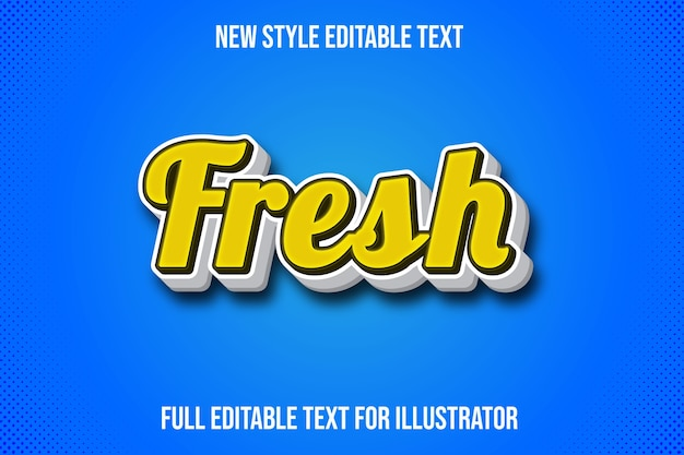 Efecto de texto color fresco degradado amarillo y blanco.