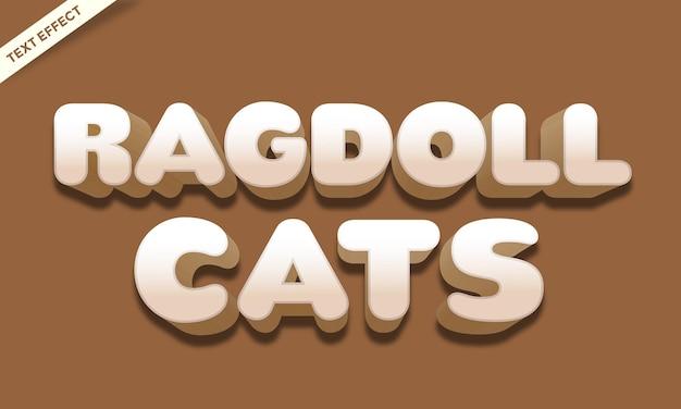 Efecto de texto de color de gato ragdoll
