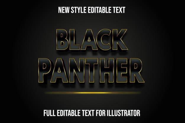 Efecto de texto color pantera negra degradado negro y dorado