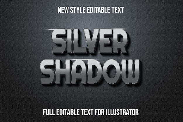 Efecto de texto color plata sombra degradado plateado y negro
