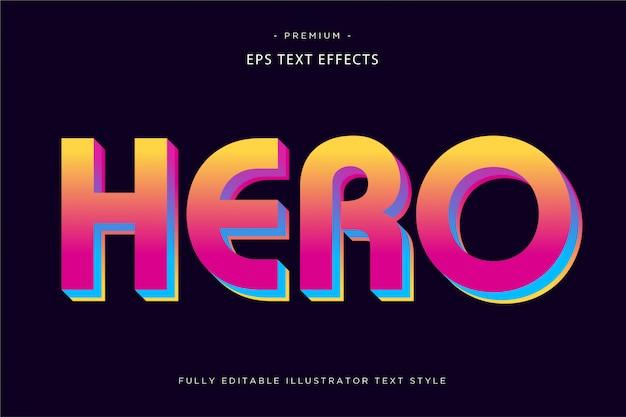 Efecto de texto colorido héroe estilo de texto 3d