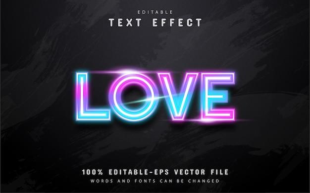 Efecto de texto colorido neón de amor