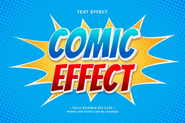 Efecto de texto cómico colorido degradado