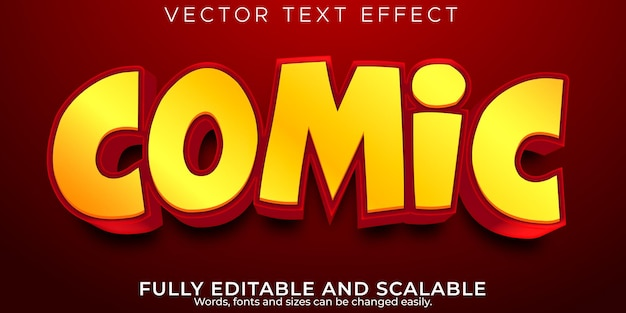 Efecto de texto cómico de dibujos animados, estilo de texto editable para niños y niños