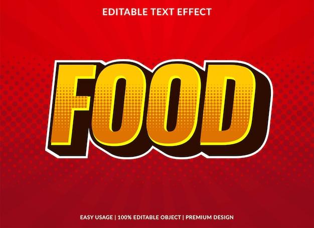 Efecto de texto de comida con estilo retro audaz
