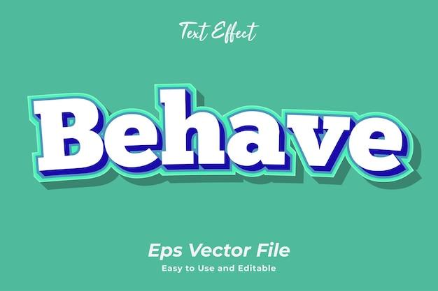 El efecto de texto se comporta editable y fácil de usar vector premium