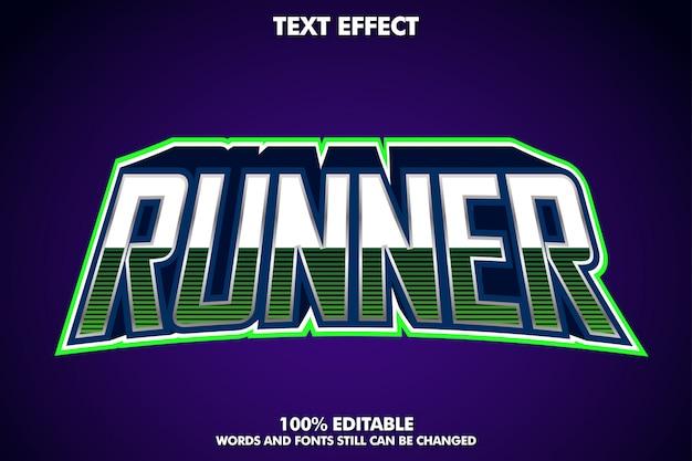 Efecto de texto de corredor, estilo de texto de deporte electrónico