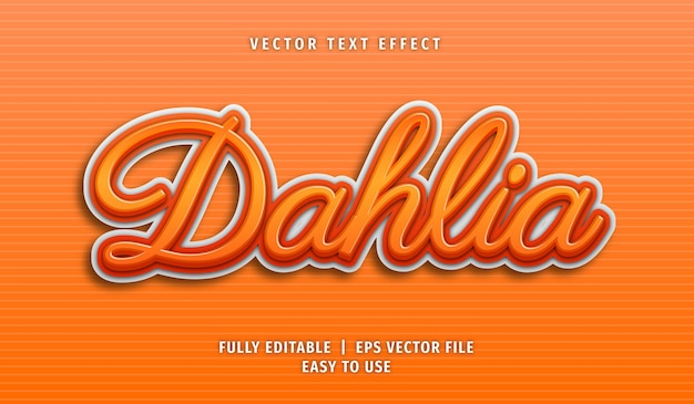 Efecto de texto dahlia, estilo de texto editable
