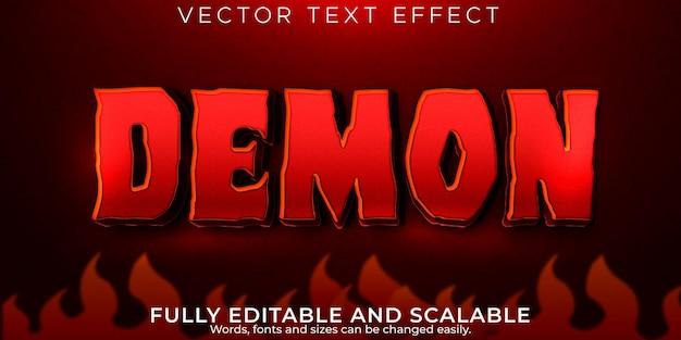 Efecto de texto demoníaco estilo de texto editable de terror y sangre
