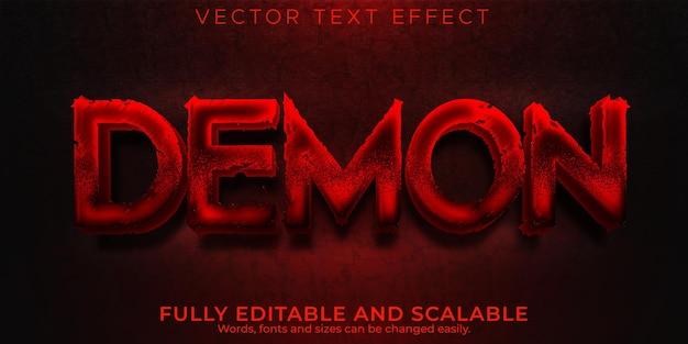 Efecto de texto de demonio, estilo de texto editable de halloween e infierno