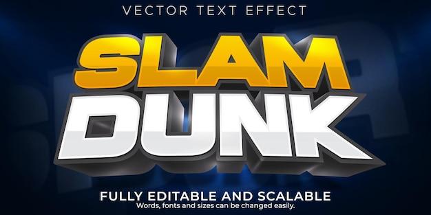 Efecto de texto deportivo de baloncesto, juego editable y estilo de texto de fútbol