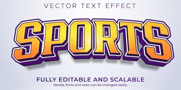 Efecto de texto deportivo, estilo de texto editable de baloncesto y fútbol.