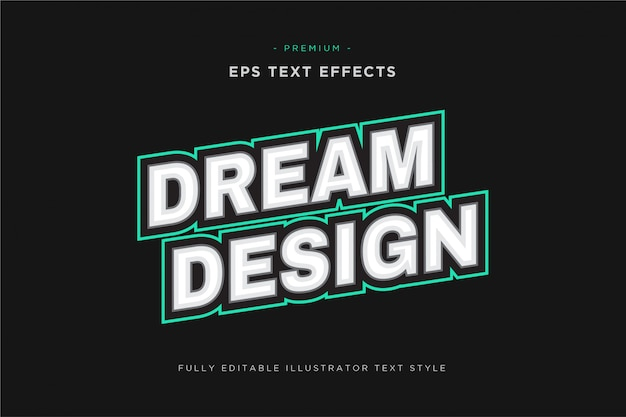 Efecto de texto deportivo de mascota de diseño de ensueño - estilo de texto de vector deportivo editable