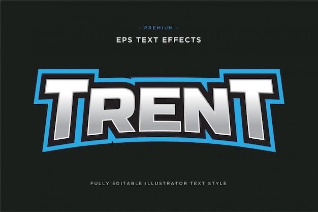 Efecto de texto deportivo de la mascota de trent: estilo de texto de vector deportivo editable