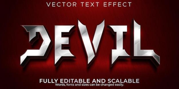 Efecto de texto del diablo; estilo de texto editable de demonio e infierno