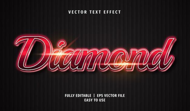 Efecto de texto de diamante 3d, estilo de texto editable
