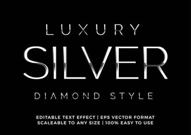 Efecto de texto de diamante de plata premium de lujo