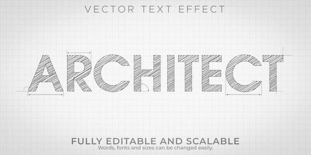 Efecto de texto de dibujo de arquitecto, ingeniería editable y estilo de texto arquitectónico