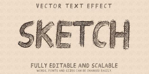 Efecto de texto de dibujo de boceto, doodle editable y estilo de texto de garabato