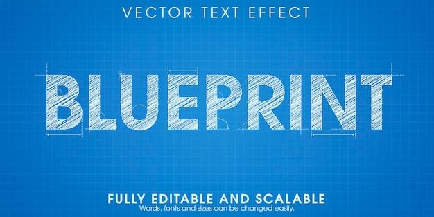 Efecto de texto de dibujo de planos, ingeniería editable y estilo de texto arquitectónico