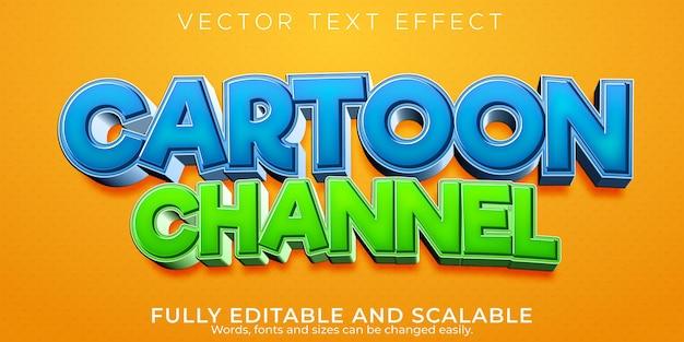 Efecto de texto de dibujos animados editable estilo de texto divertido y cómico