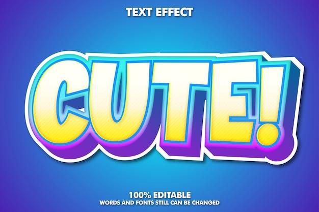 Efecto de texto de dibujos animados lindo