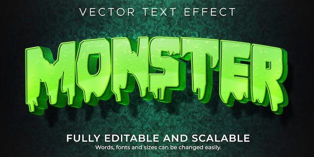 Efecto de texto de dibujos animados de monstruo; estilo de texto cómico y divertido editable