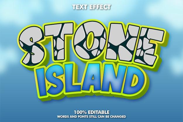 Efecto de texto de dibujos animados con patrón de piedra