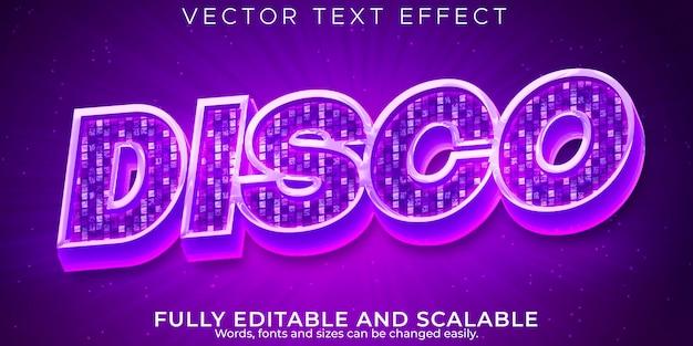 Efecto de texto de discoteca, música editable y estilo de texto de fiesta.