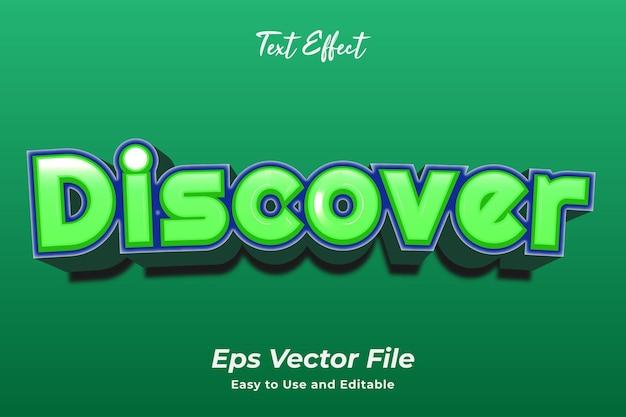 Efecto de texto discover fácil de usar y editable vector premium