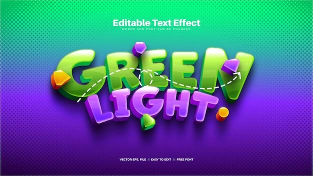 Efecto de texto divertido de luz verde