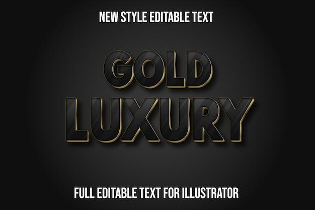 Efecto de texto dorado color de lujo degradado negro y dorado