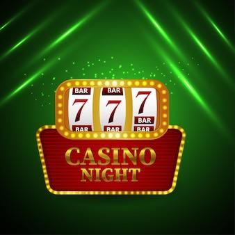 Efecto de texto dorado en línea del casino con máquina tragamonedas sobre fondo verde
