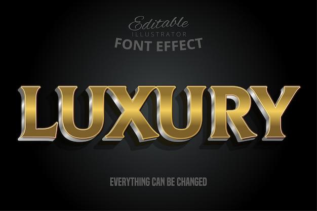 Efecto de texto dorado de lujo con extrusión de plata