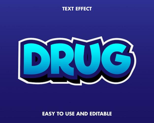 Efecto de texto de drogas. fácil de usar y editable. prima