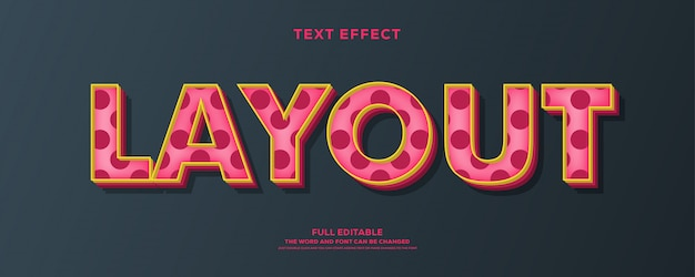 Efecto de texto dulce de estilo 3d con diseño punteado