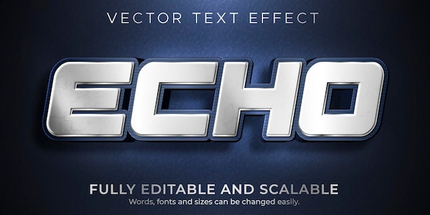 Efecto de texto de eco metálico, estilo de texto brillante y elegante editable