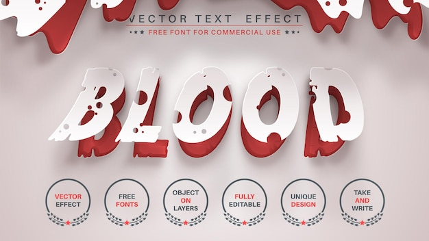 Efecto de texto de edición de origami de sangre estilo de fuente editable