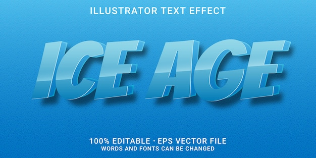Efecto de texto editable 3d - estilo de la era de hielo
